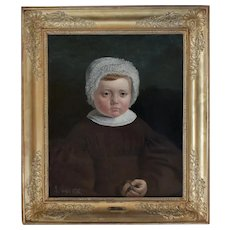 Portrait of a Child, 1836 French Oil Canvas Painting, Adolphe Gagey