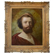 1865 Bearded Man Portrait, French Oil on Canvas Painting, Hippolyte Bellangé