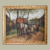 Genre Scene Farm Painting, 1910 Oil on Canvas, Eugène Péchaubès