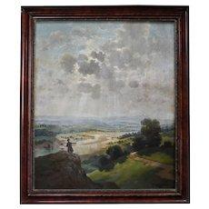 Oil Painting Landscape, 1921 Hungarian Landscape, Oil on Canvas, Miklós Santhó