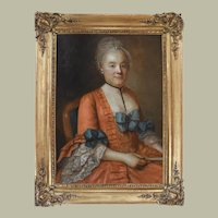 18th Century Oil Painting, Unique Portrait, French Elegant Woman, Rococo Style
