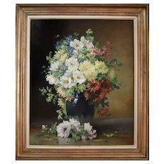 Still Life with Flowers, Oil on Canvas Original, Edmond van Coppenolle
