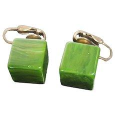 Vintage Green Bakelite Cube Shape Clip on Earrings