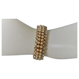 Vintage  Airflex Faux Pearl and Clear Rhinestone  Expandable Bracelet