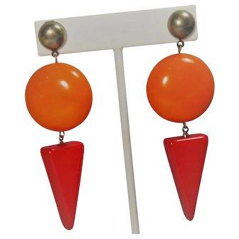 Vintage Mid Century Geometric  Orange Red Drop Earrings