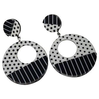 Vintage Retro Style Large White Black Dangle Earrings
