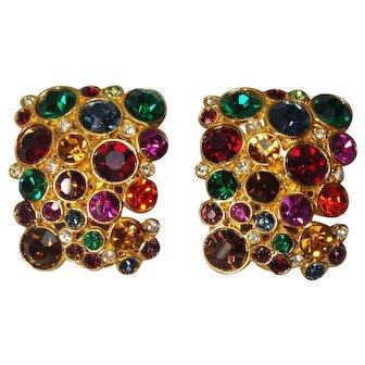 Vintage Signed Blanca  Colorful Rhinestone Large Earrings
