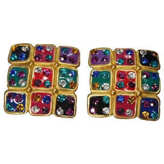 Vintage Signed Don Lin Large Multi Color Earrings