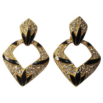Vintage Vintage Bijoux New York Designs Rhinestone Door Knob Earrings