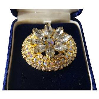 Vintage Empra Lite by Goodrich Wilkie AB Crystal Flower Pin Brooch