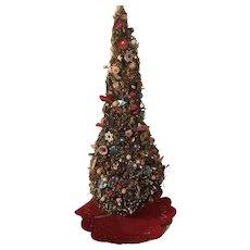 Vintage Folk Art Bottle Brush Christmas Tree