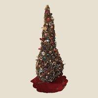 Vintage Folk Art Hand Made Christmas Tree