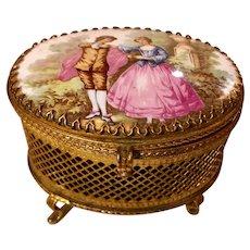 French Ormolu Porcelain Jewelry Casket Romantic