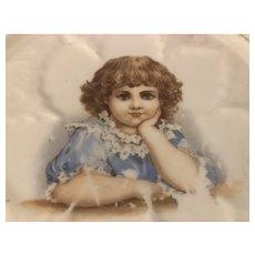 Sweet Antique Victorian Porcelain Trivet Gorgeous Little Girl