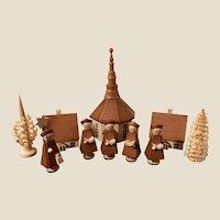Vintage 10 Piece Christmas Erzgebirge Church Village Carolers Trees