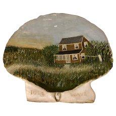 Folk Art Painted Scallop Shell Cape Cod Idle Wave