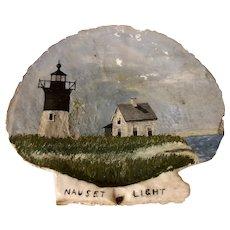 Folk Art Painted Scallop Shell Nauset Light