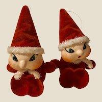 Pair Vintage MIJ Santa Elf Ornaments