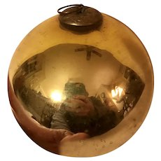 Large Antique German Glass Kugel Ornament Gold