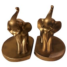 Frankart Baby Elephant Art Deco Bookends