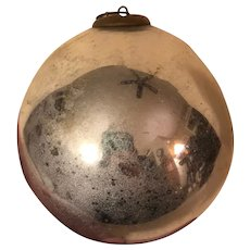 Antique Large German Glass Kugel Ornament Silver