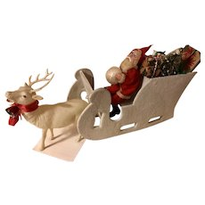 Fabulous Vintage MIJ Santa Snowball Sleigh Reindeer