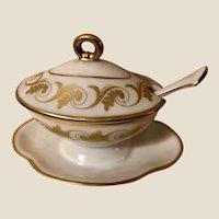 Vintage Richard Ginori 3 Piece Porcelain Gilded Sauce Mayo Gravy Dish