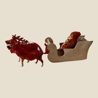 Amazing Antique German Belsnickle Sleigh & Reindeer