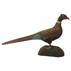 American Folk Art Carved Pheasant Bird New England