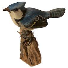 Very Fine Vintage Carved Blue Jay Figure