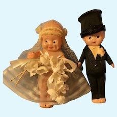 Celluloid Kewpie Doll Flapper Bride & Groom Cake Toppers