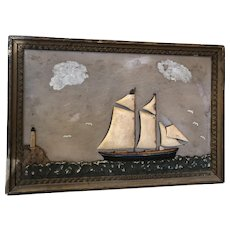 Antique Folk Art New England Ship with Lighthouse Diorama