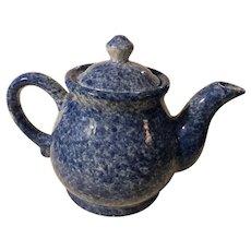19th Century Blue Spongeware Teapot New England Primitive