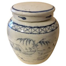 Antique Chinese 19th Century Earthenware Blue & White Ginger Jar