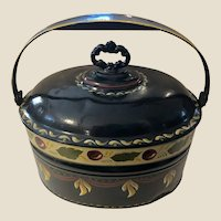 Authentic Antique New England Toleware Large Canister with Handle & Lid
