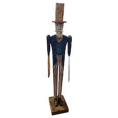 Fabulous Folk Art Uncle Sam Whirligig New England Signed FJJ