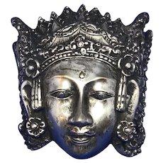 Gorgeous Silver Balinese Sarawati Goddess Mask Hindu