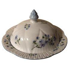 Vintage Shelley Porcelain Covered Butter Dish Blue Rock Pattern
