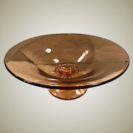 Vintage Pink Depression Glass Footed Console Bowl