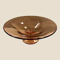 Pretty Vintage Pink Mid-Century Modern MCM Glass Footed Console Display Bowl