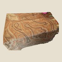 Antique Kashmir Wool & Silk Paisley Piano Shawl