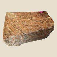Antique Victorian Kashmir Wool & Silk Paisley Piano Shawl Throw