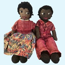 Pair Fabulous Antique Black Americana Rag Dolls
