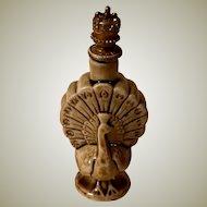 German Figural Peacock Perfume Bottle Crown Top Shafer Vater