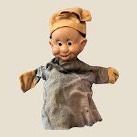 Vintage 1940s Original Walt Disney Dopey the Dwarf Hand Puppet Composition