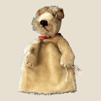 Sweetest Vintage Steiff Fox Terrier Dog Mohair Hand Puppet German Mohair