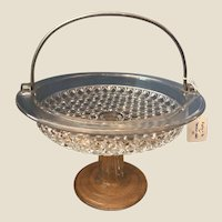 EAPG Pressed Glass Antique Mascotte Pattern Cake Stand Pedestal Basket Ripley & Co.
