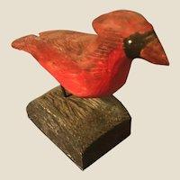 Vintage Folk Art New England Carved Cardinal Bird Signed