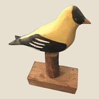 New England Folk Art Carved Goldfinch Bird Figure
