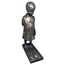 M J Cornwall Bronze Girl with Turtle Sculpture Gorham